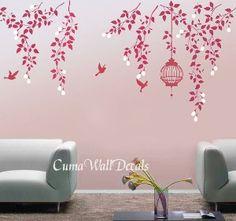 -birdcage-birds-wall-decor-mural--pink-vine-flowers-birdcage-and-birds-