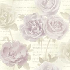 Rose Garden Blush (650800) - Arthouse Wallpapers - A delicate wallpaper design featuring elegant roses with musical notes and script within the background. Shown here in pale soft lilacs and pinks on a creamy beige background with metallic silver notes. Other colourways are available. Please request a sample for a true colour match.
