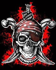 skull flag: Jolly Roger, símbolo de pirata con puñales cruzados y cuerda sobre el fondo negro y rojo Vectores