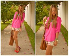 FLORAL SHORTS AND COLORS  (by Raquel Cañas) http://lookbook.nu/look/3360927-FLORAL-SHORTS-AND-COLORS