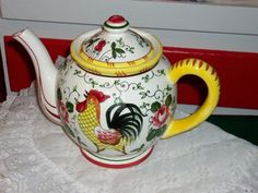 Vintage Rooster and  Roses py Teapot  Cottage Rose by raggedy10, $26.00