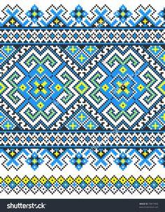 stock vector : embroidered good like handmade cross-stitch ethnic Ukraine pattern Cross Stitch Borders, Cross Stitch Charts, Cross Stitch Designs, Cross Stitching, Cross Stitch Embroidery, Embroidery Patterns, Cross Stitch Patterns, Loom Patterns, Crochet Patterns