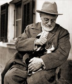 Henri Matisse and his happy cat, Miouche http://www.terriwindling.com/blog/cats-cat-lore/