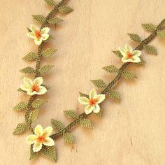 Turkish OYA Lace - Silk Necklace  - Plumeria.Quintet - Lemon by DaisyCappadocia on Etsy