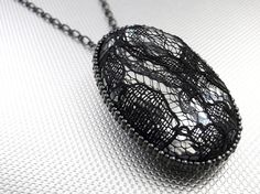 Black Lace Smoky Glass Pendant Necklace by arianaalysedesigns, $22.00