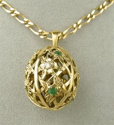 Igor Carl Faberge Imperial Egg Pendant Gold Diamond Franklin Mint