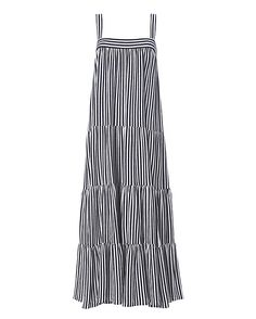 MDS Stripes Wyatt Stripe Dress: Vertical stripes lengthen your silhouette on this tiered maxi dress. Tank straps. Two button loop closures at back. In blue/white. Fabric: 100% cotton Made in USA. Model Measurements: Height 5'10 ; Waist 24 ; Bust 33 wearing size S Length from shoulder ...