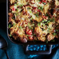 Christmas-Morning Casserole | Chef Bryan Voltaggio loves this make-ahead dish: a classic baked bread-and-egg casserole with bites of pepperoni, mushrooms and gooey cheese. It's as good for dinner as it is for breakfast.