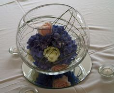 hydrangea in a fish bowl centre pieces
