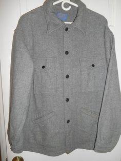 PENDLETON MENS Vintage GRAY Mackinaw Jacket Made in USA- Sz XL - Extra Large VTG #Pendleton #BasicCoat
