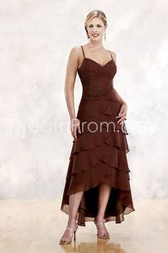Spaghetti Straps Sheath/Column Chiffon Bridesmaid Dresses Under 200