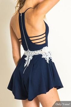 Navy Cami Playsuit with Lace Details - US$15.95 -YOINS