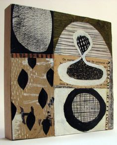 mid century modern collage mixed media on cradled wood panel