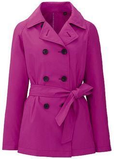 Uniqlo Pink Women Short Trench Coat#pink #peacoat #purple #barney #cute #bright #belt #winter #fashion #stylish