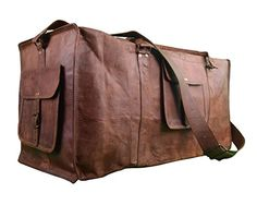 Urban Dezire Duffle Gym Bags Genuine Vintage Brown Leather Goathide 24 Travel Luggage *** You can find more details by visiting the image link.