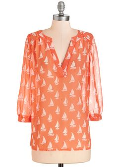 How Fleet It Is Top. Days spent dockside are a true delight - made even better by this coral blouse! #orange #modcloth