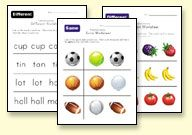 Printable Preschool and Kindergarten Worksheets. Might be good for making sturdy laminated cards.