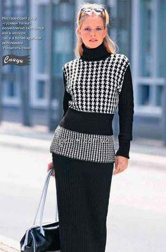 Черно-белый пуловер с жаккардовым узором. Описание, схемы вязания