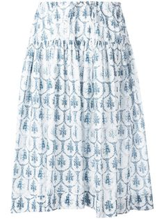 JIL SANDER Tile Print Drawstring Skirt. #jilsander #cloth #skirt