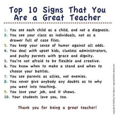 top 10 signs that you are a great teacher -