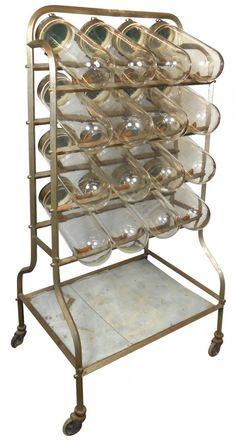 Candy jar display, 16 glass jars w/tip-down lids, an un