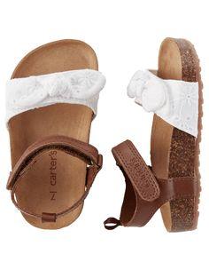 Toddler Girl Carter's Eyelet Cork Sole Sandals | Carters.com
