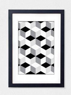 Geometric Art Black and White print modern by hooknloopdesign