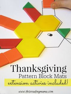 } - This Reading MamaFREE Thanksgiving Pattern Block Mats {extension activities included!} - This Reading Mama Thanksgiving Preschool, Fall Preschool, Math Classroom, Kindergarten Math, Classroom Activities, Preschool Activities, Thanksgiving Quotes, November Preschool Themes, Number Activities