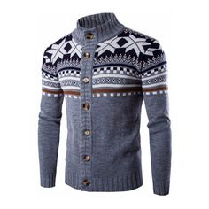 Snowflake Printing Knitted Cardigan Sweater Single Breasted Stand... ❤ liked on Polyvore featuring men's fashion, men's clothing and men's sweaters