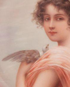 Hutschenreuther German Painted Portrait on Porcelain