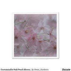 Customizable Pink Peach Blossom Napkins