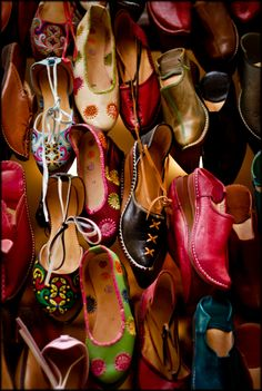 Leather sandals at the Souq (an open air market place).