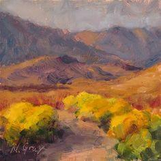 """""""Rabbitbrush in the Desert"""" - Original Fine Art for Sale - © Naomi Gray"""