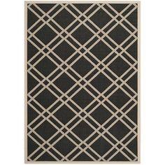 "Contemporary Safavieh Indoor/Outdoor Courtyard Black/Beige Rug (5'3"" x 7'7"")   Overstock.com Shopping - Great Deals on Safavieh 5x8 - 6x9 Rugs"