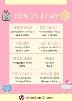 Taking care of a baby/Korean Vocabulary