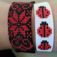 loom beading for beginners Peyote Stitch Patterns, Seed Bead Patterns, Beading Patterns, Beading Ideas, Bead Loom Bracelets, Beaded Bracelet Patterns, Stacking Bracelets, Bead Loom Designs, Wire Weaving