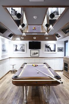 Decorating Aston Martin with Sparkling Interior Lighting: Cozy Playroom In Project Batcave Ben Rousseau With Unique Billiard Table With . Billard Design, Man Cave Must Haves, Pool Table Room, Pool Tables, Game Tables, Modern Games, Game Room Design, Billiard Room, Entertainment Room