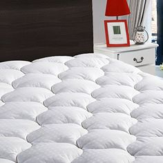 """Overfilled Fitted Mattress Pad Cover(8-21""""Deep Pocket)-Cooling Mattress Topper with Snow Down Alternative Fill (Twin, White). For product & price info go to:  https://all4hiking.com/products/overfilled-fitted-mattress-pad-cover8-21deep-pocket-cooling-mattress-topper-with-snow-down-alternative-fill-twin-white/"""