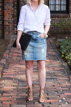 Distressed Denim Pencil Skirt - via @poorlilitgirl