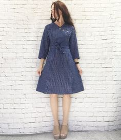 Vintage 60s Tulip Print Navy Belted Dress Asian Mod Flared Knee Length L XL by PopFizzVintage on Etsy