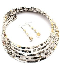 Stylish Silver Cubic Beads Fashion Flexible Choker Collar Jewelry Necklace Set