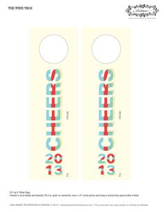 New Year's wine bottle gift tags