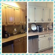 Chalk paint old blonde oak cupboards for a new updated for Annie sloan chalk paint kitchen cabinets before and after