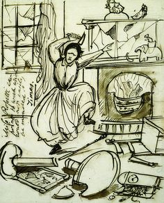 """Dante Gabriel Rossett - Christina Rossetti in a Tantrum, 1862. Pen and ink.  Text: """"Miss Rossetti can point to work which could not easily be mended."""""""