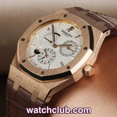 AUDEMARS PIGUET Royal Oak Dual Time - Rose Gold REF: 26120OR.00.D088CR.01 | Year Apr 2009 - In absolutely pristine condition, this 18ct rose gold Audemars Piguet 39mm Royal Oak is totally complete with its original AP box and papers... Powered by their cal.2329/2846 automatic movement, this model ref.26120OR sports a white mega tappisserie dial which displays power reserve, date and dual time - for sale at Watch Club, 28 Old Bond Street, Mayfair, London