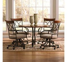 steve silver company hamlyn 5 piece marble top dining table set in