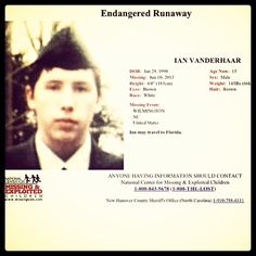 Ian Vanderhaar, 15, endangered runaway from Wilmington, NC was last seen on June 10, 2013 and is thought to possible be in FL.  Photo by capefearinvestigative