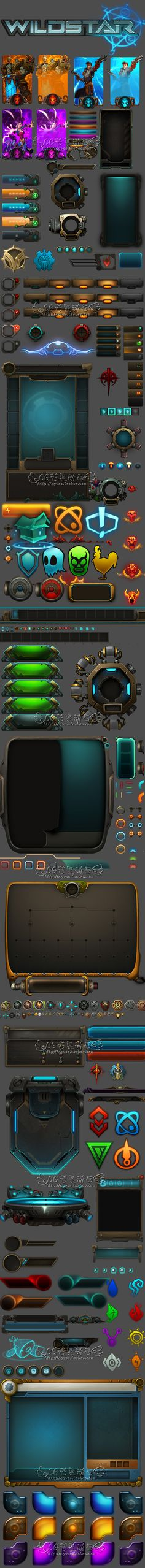 游戏美术资源/韩游科技机械金属风UI素材/图标icon/界面/截图