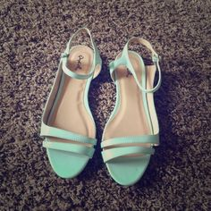 ✨HP✨ NWT Qupid Sandals Adorable flat sandals from Qupid! These are a very light blue color, with ankle straps. I have really wide feet so they looked funky on me! No box, but stickers are still attached! Qupid Shoes Sandals
