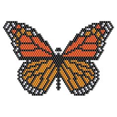 Monarch Butterfly Pendant peyote pattern #1 Large